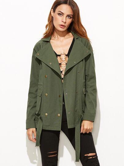 Olive Green Raglan Sleeve Belted Hem Utility Jacket