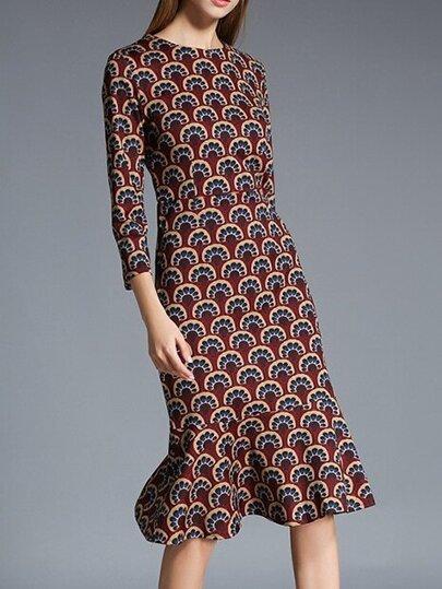 Multicolor Crew Neck Print Kleid mit Rüschen