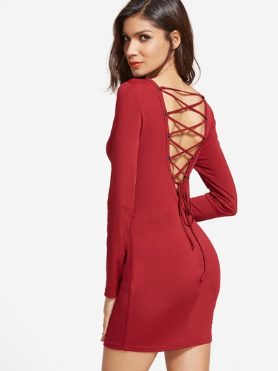 Red Lace Up V Back Long Sleeve Bodycon Dress