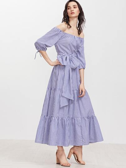 Blue Striped Off The Shoulder Belted Tiered Dress