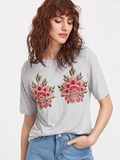 Camiseta con bordado floral - gris