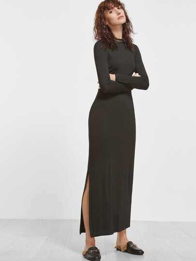 Black Crew Neck Slit Long Dress