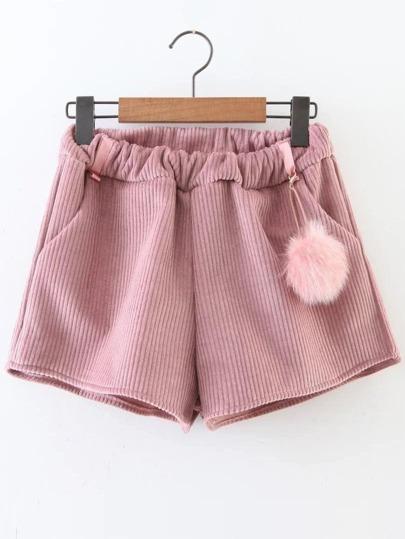 Pantalones cortos de pana con pompón - rosa