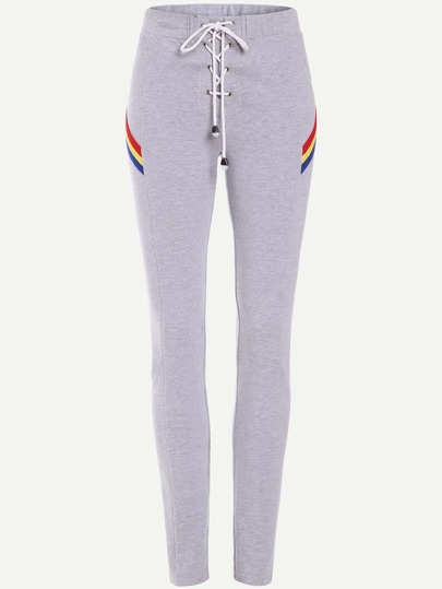 Drawstring Waist Striped Detail Skinny Sweatpants
