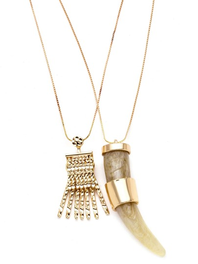 Gold Tone Wolf Tooth Charm Double Layer Boho Necklace