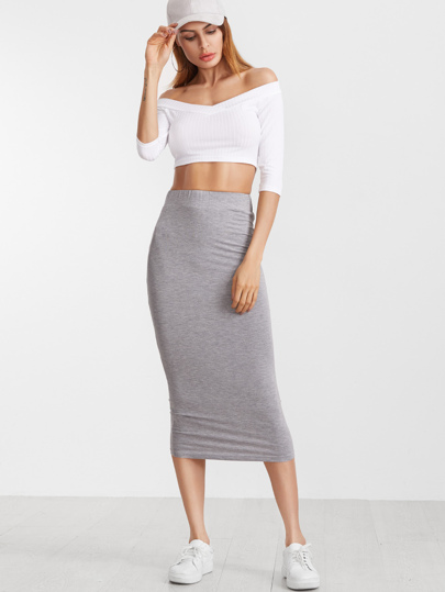 Heather Grey Elastic Waist Midi Pencil Skirt
