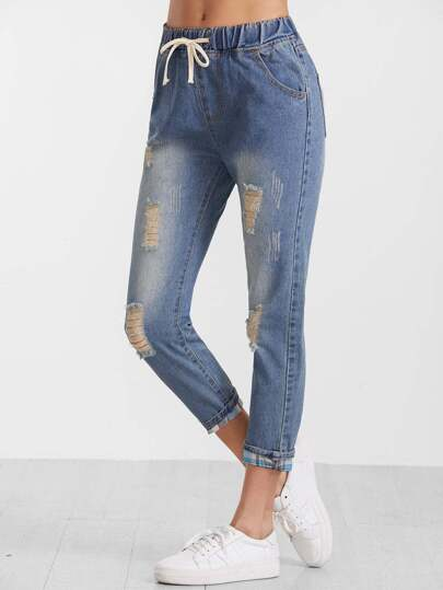 Blue Drawstring Ripped Bleach Cuffed Jeans
