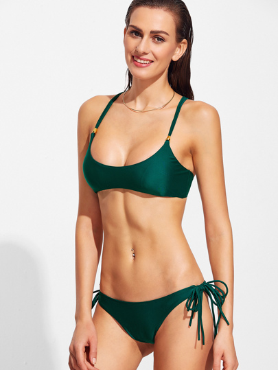 Dark Green Cross Back Strappy Bikini Set