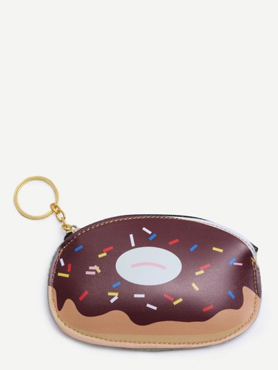 Doughnut Print Zipper Closure Wallet
