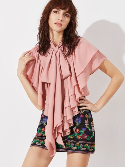 Pink Tie Neck Frilled Layered Cape Top