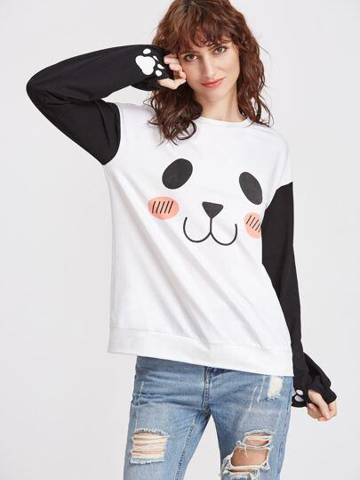 White Panda Print Drop Shoulder Contrast Sleeve Sweatshirt