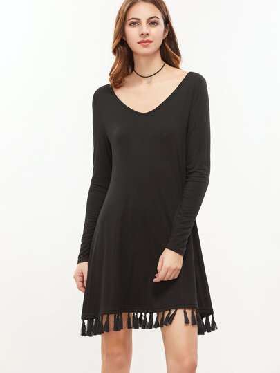 Black V Neck Tassel Trim Long Sleeve Dress