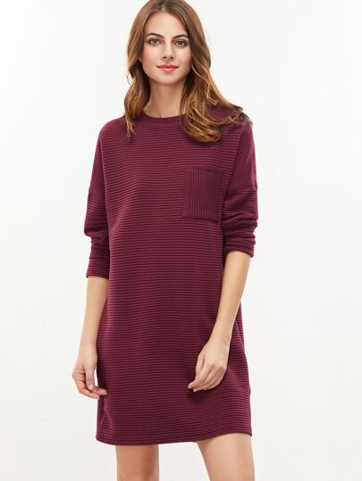 Burgundy Drop Shoulder Pocket Front Ribbed Dress