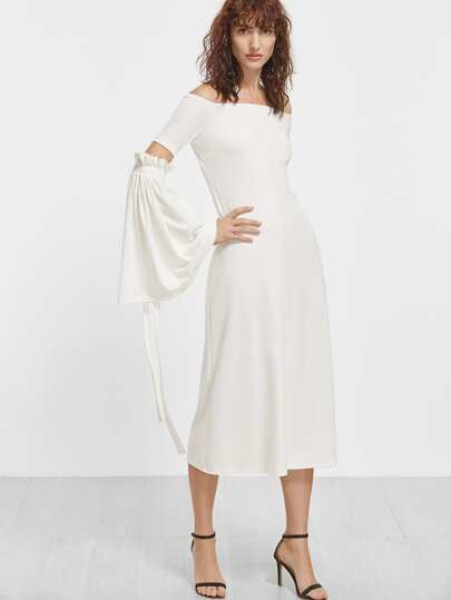 White Off The Shoulder Open Elbow Bell Sleeve Dress