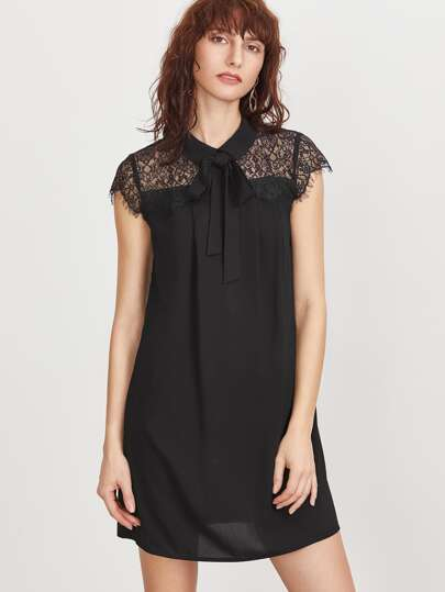 Black Tie Neck Floral Lace Shoulder Dress