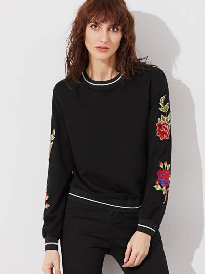 Striped Trim Embroidered Flower Applique Sweatshirt