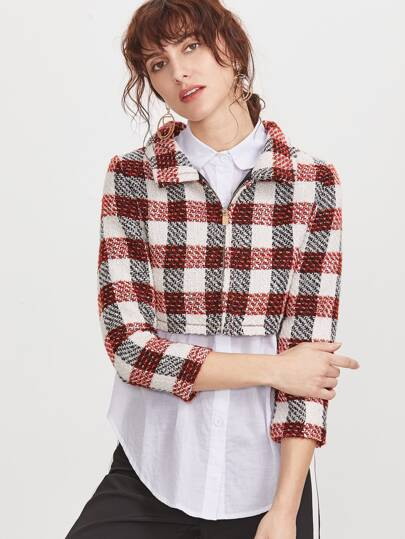 Plaid Crop Zip Up Tweed Jacket