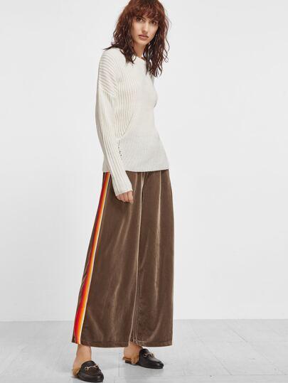 Khaki Velvet Striped Side Wide Leg Pants