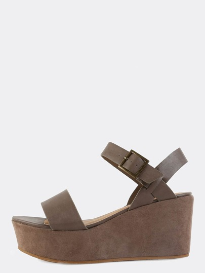 Single Band Ankle Strap Flatforms TAUPE
