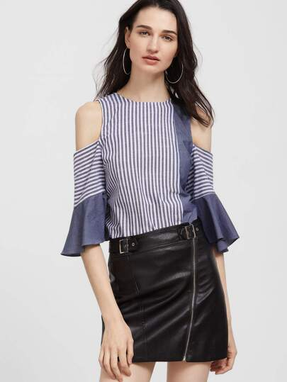 Navy And White Striped Bow Back Cold Shoulder Ruffle Sleeve Top