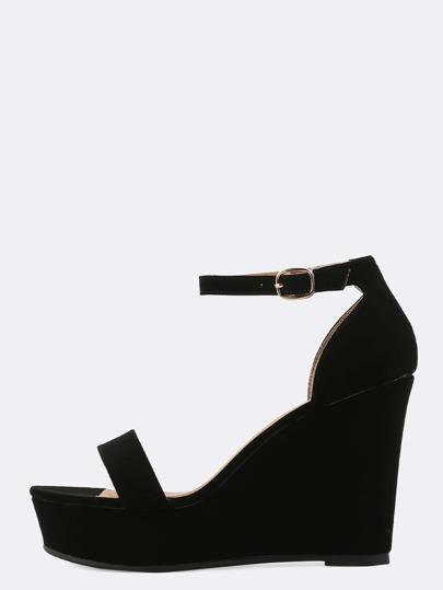 Nubuck Ankle Strap Wedges BLACK