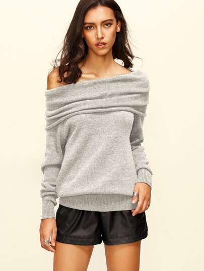 Grey Off The Shoulder Long Sleeve Sweater