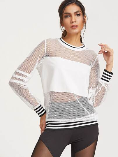 Striped Trim Fishnet Sweatshirt