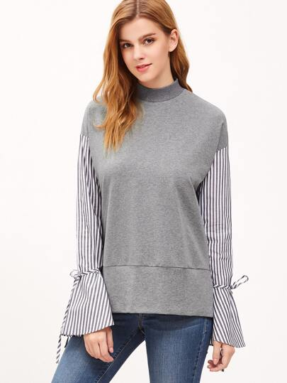 Drop Shoulder Striped Bell Sleeve Drawstring Sweatshirt