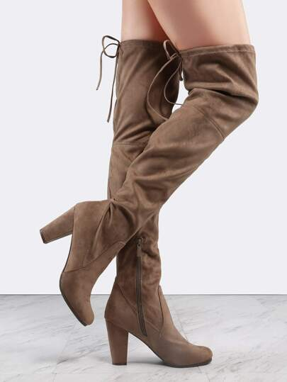 Almond Toe Faux Suede Thigh Boots TAUPE