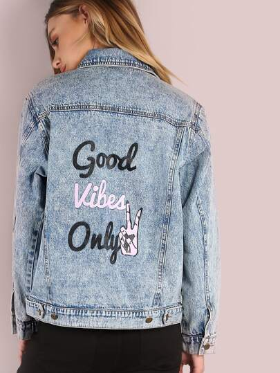 Mineral Washed Good Vibes Only Denim Jacket DENIM