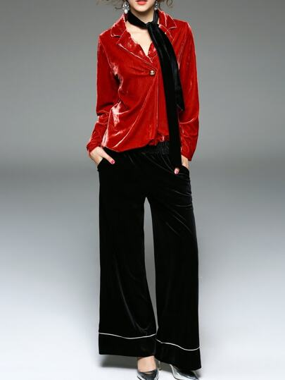 Red Lapel Velvet Top With Pants