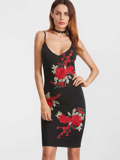 Black Embroidered Rose Applique Scoop Back Cami Bodycon Dress