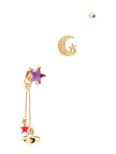 Gold Tone Star and Moon Charm Earring Set