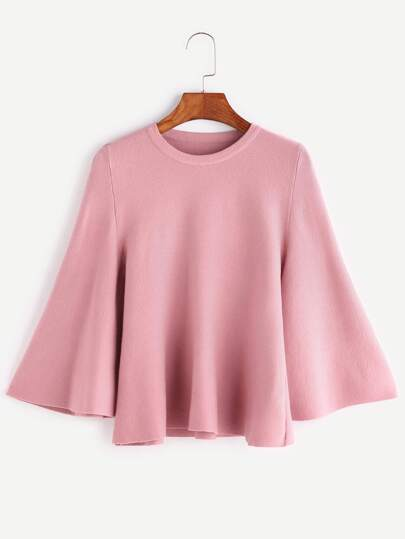 Pink Bell Sleeve Jersey Sweater