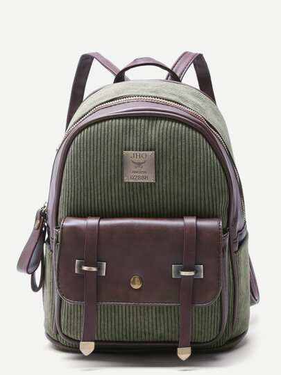 Olive Green Corduroy and PU Pocket Front Mini Backpack