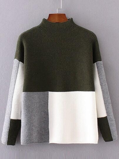Pullover Verspotten Hals Drop Schulter-kontrastfarbe