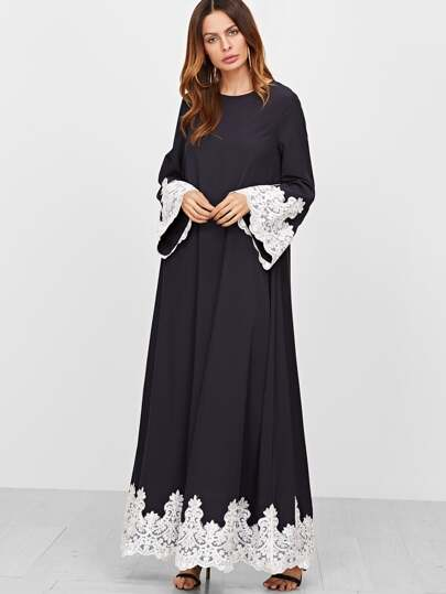 Contrast Embroidered Lace Trim Tent Dress