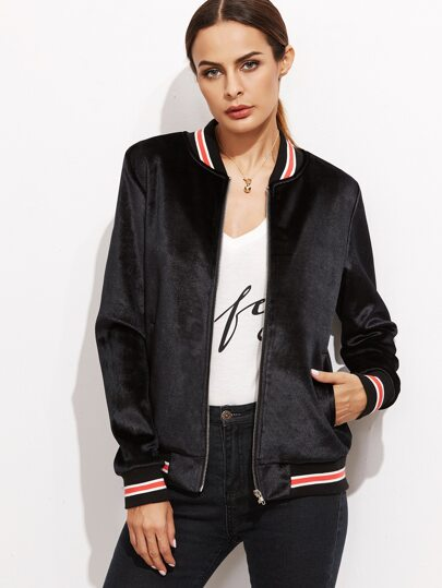 Black Striped Trim Velvet Bomber Jacket