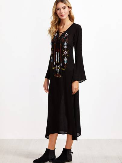 Black Embroidered Tassel Tie Neck Bell Sleeve  Dress