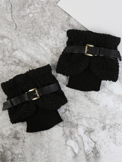 Belted Faux Wool Leg Warmers BLACK