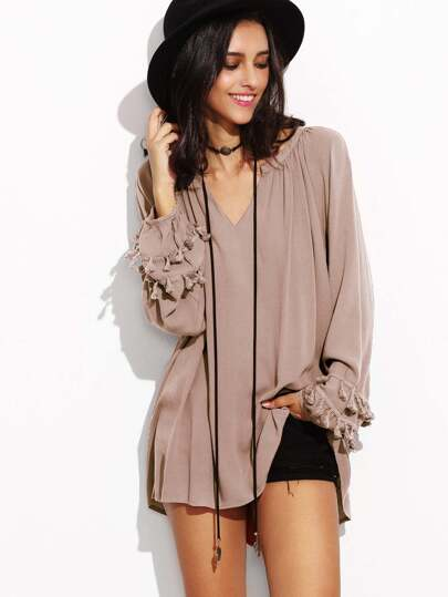 V Neck Fringe Trim Dip Hem Top