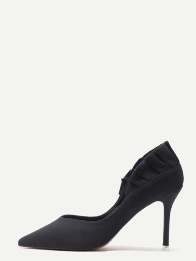 Zapatos de salón de ante en punta - negro