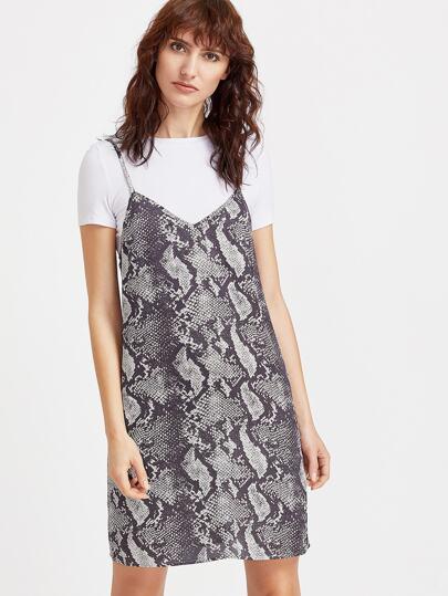 Vestido de tirantes con estampado de serpiente - gris