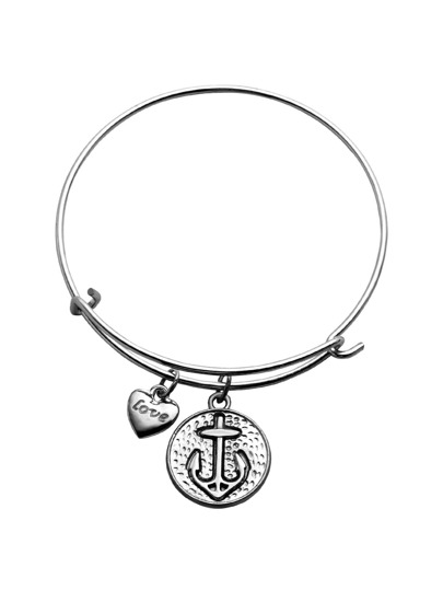 Silver Heart And Anchor Charm Metal Bracelet