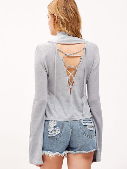 Heather Grey Cowl Neck Bell Sleeve Lace Up V Back T-shirt
