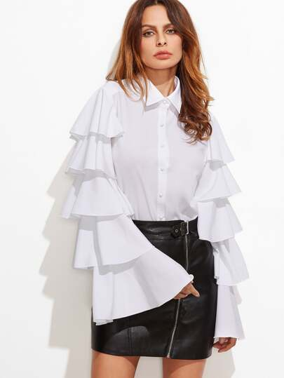 White Button Up Layered Bell Sleeve Blouse