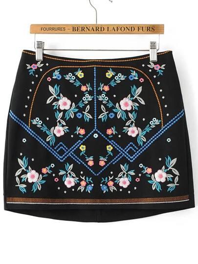 Black Floral Embroidery Back Zipper Vintage Skirt
