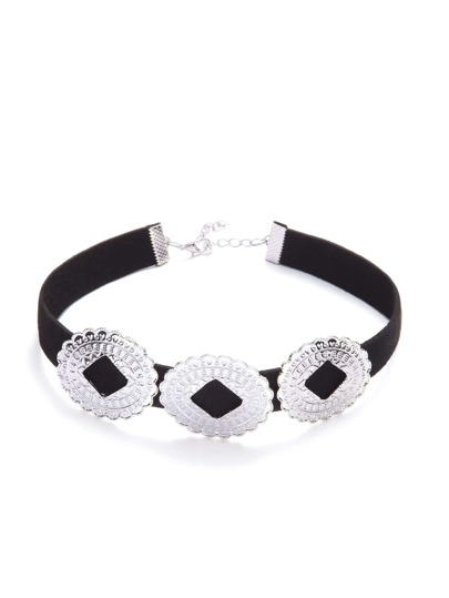 Black Rounds Embellished Suede Choker