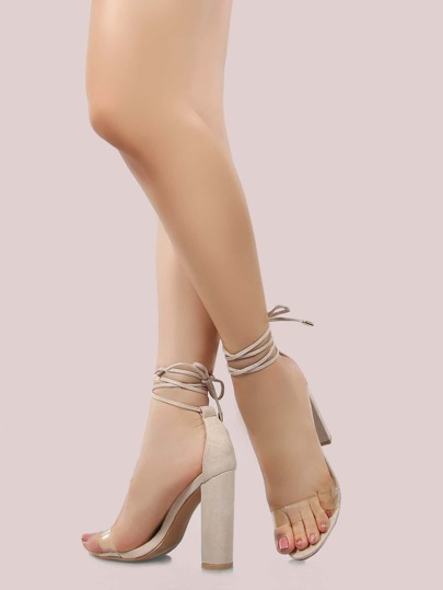 Open Toe Lace Up Chunky Heels NUDE