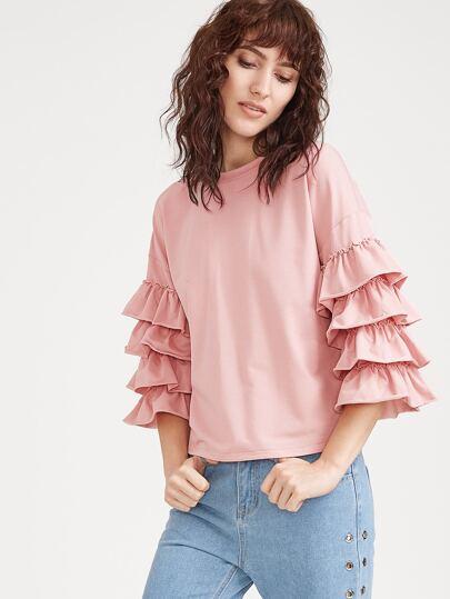 Pink Layered Ruffle Sleeve T-shirt